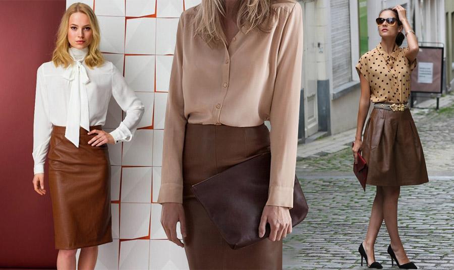 Μία δερμάτινη φούστα με ένα μεταξωτό λευκό ή σε ροζ-μπεζ πουκάμισο και είστε άψογη για ένα επαγγελματικό ραντεβού // Δοκιμάστε και μία δερμάτινη καφέ φούστα με ένα πουά πουκάμισο σε αποχρώσεις μπεζ-καφέ