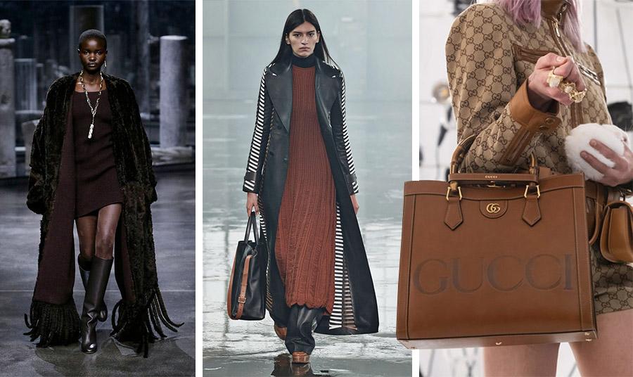 Ο οίκος Fendi δημιούργησε πολλά σύνολα σε καφέ αποχρώσεις για τη φετινή συλλογή του // Καφέ φόρεμα με μαύρο δέρμα, Gabriella Hearst // Δερμάτινες τσάντες, Gucci