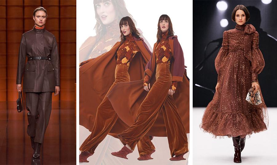 Το καφέ σε διαφορετικούς τόνους και εκδοχές από τις συλλογές φθινόπωρο 2021-χειμώνας 2022. Δερμάτινο κοστούμι, Hermes // Βελούδο και απόχρωση της καραμέλας, Norma Kamalli // Φόρεμα γεμάτο θηλυκότητα, Zimmerman