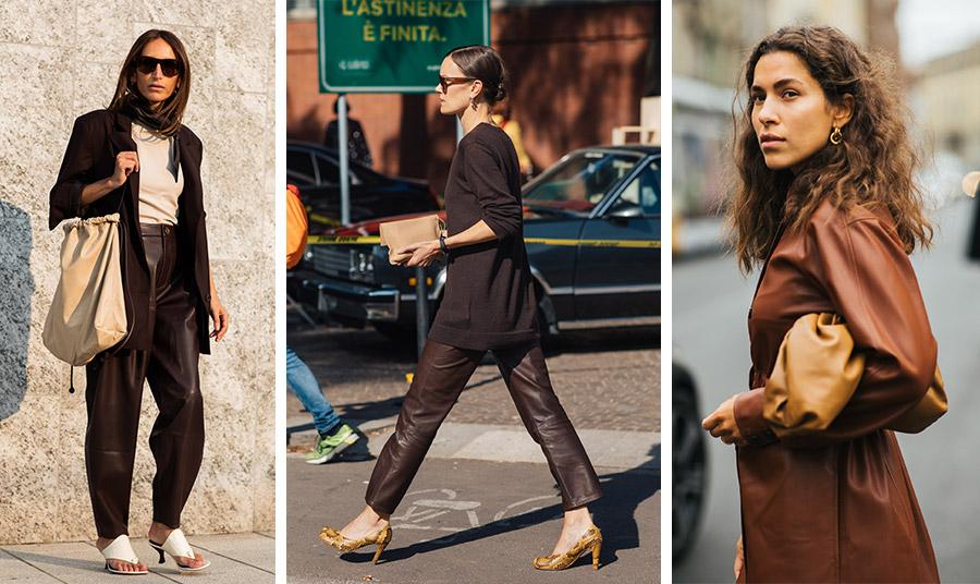 Η ιταλική πρωτεύουσα της μόδας, το Μιλάνο ψήφισε επίσης καφέ! Τόνοι του καφέ με γλυκό μπεζ, σκούρο καφέ δερμάτινο παντελόνι με ασορτί πλεκτό και κίτρινα παπούτσια αλλά και ταμπά δέρμα με ανοιχτό καφέ-κίτρινο τσαντάκι
