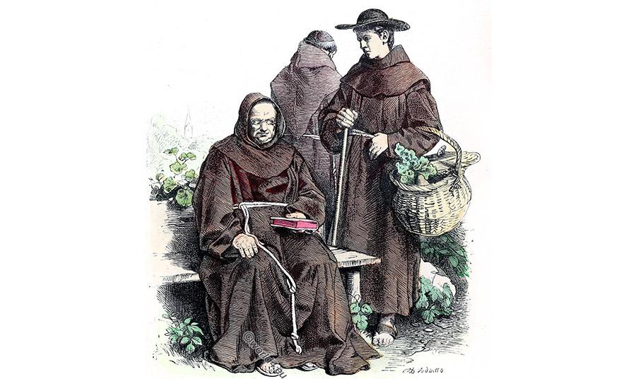 Στον Μεσαίωνα καφέ ρούχα φορούσαν επίσης μοναχοί της τάξης των Φραγκισκανών
