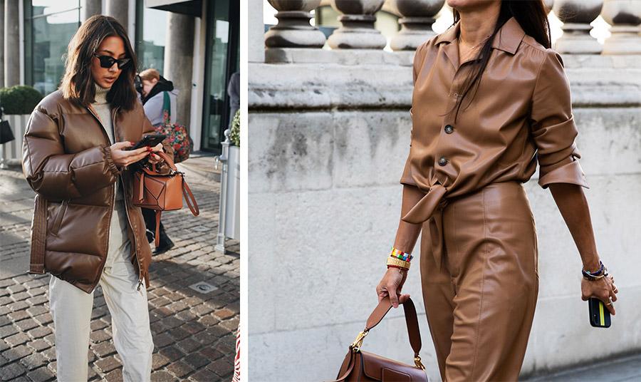 Ένα καφέ μπουφάν με κρεμ σύνολο και σκούρα πορτοκαλί τσάντα για ένα casual chic στιλ // Σέξι με καφέ δερμάτινα!