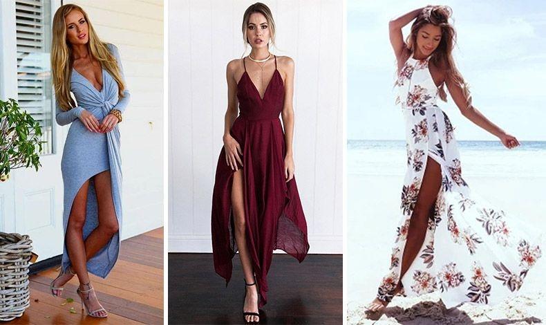 Μάξι ή ασύμμετρα φορέματα με βαθύ σκίσιμο, ιδιαίτερα αν έχετε ωραία πόδια!