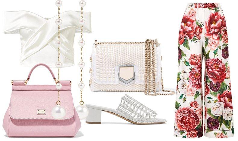 Για μία εντυπωσιακή εμφάνιση για γάμο ή πάρτι διαλέξτε μία παντελόνα φλοράλ και συνδυάστε την ανάλογα // Έξωμο σατέν μπουστιέ, Halfpenny // Mακριά σκουλαρίκια με πέρλες, Mizuki // Ροζ τσάντα, Dolce& Gabbana // Τσαντάκι από λευκές πέρλες και χρυσή αλυσίδα, Jimmy Choo // Λευκά πλεκτά mules, Gavriel Mansur // Φλοράλ παντελόνα, Dolce& Gabbana