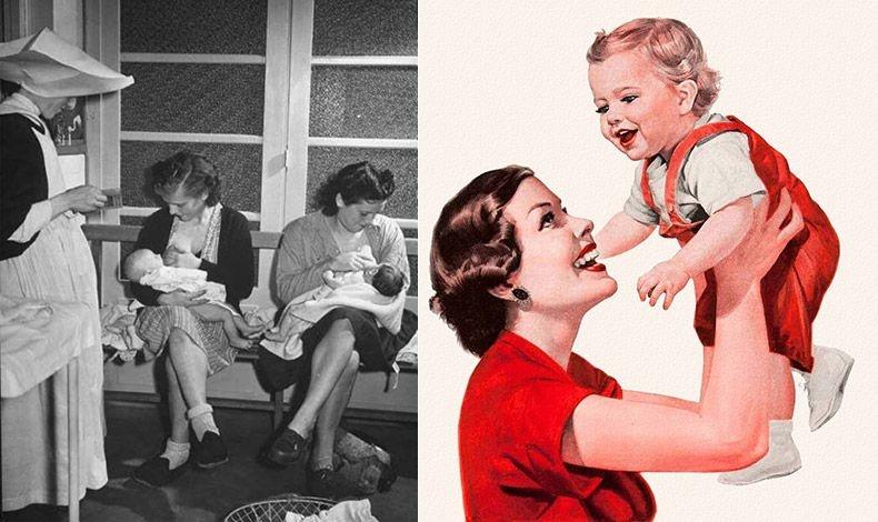 Το 1946 για πρώτη φορά «καλή μαμά» θεωρείται εκείνη που αγαπά και το δείχνει στο παιδί της // Τη δεκαετία του '50, μια μέση μαμά ξόδευε 55 ώρες την εβδομάδα στις δουλειές του σπιτιού χωρίς να της περνάει από το μυαλό να ζητήσει βοήθεια από τον σύζυγό της