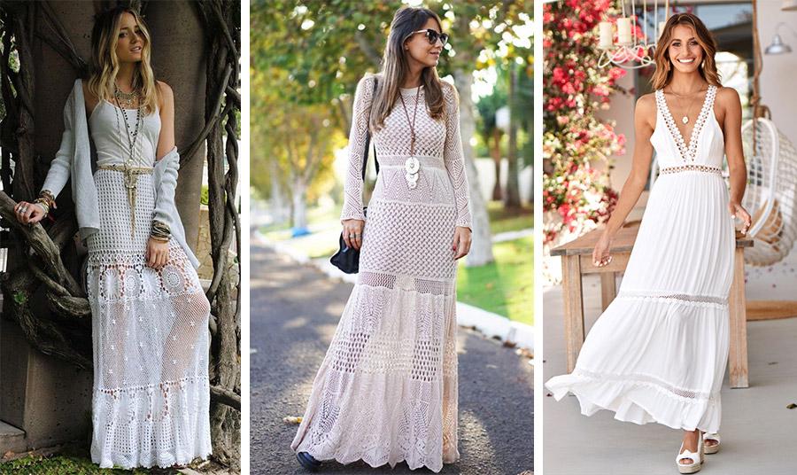 Συνδυάστε μία λευκή μακριά φούστα με ένα απλό τοπ // Μάξι πλεκτό φόρεμα ακόμη και για επίσημες εκδηλώσεις // Ένα boho μακρύ φόρεμα με τις εσπαντρίγιες σας κι…έτοιμες