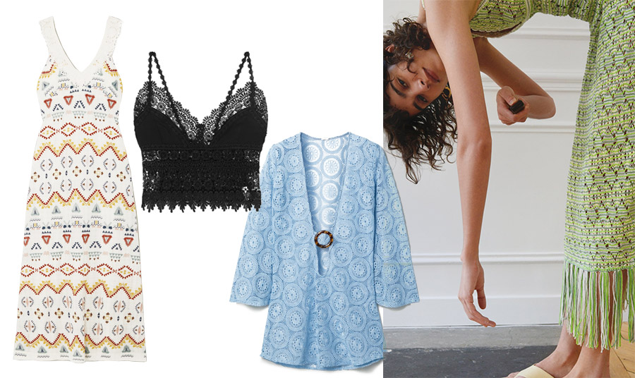 Οι φετινές επιλογές σε πλεκτά ρούχα είναι πολλές, τόσο στη γραμμή όσο και στα χρώματα. Φόρεμα, Vanessa Bruno // Σέξι μαύρο crop top, Charo Ruiz // Γαλάζια τουνίκ, Dodo BarOr // Πράσινο μακρύ φόρεμα με κρόσσια, Zara