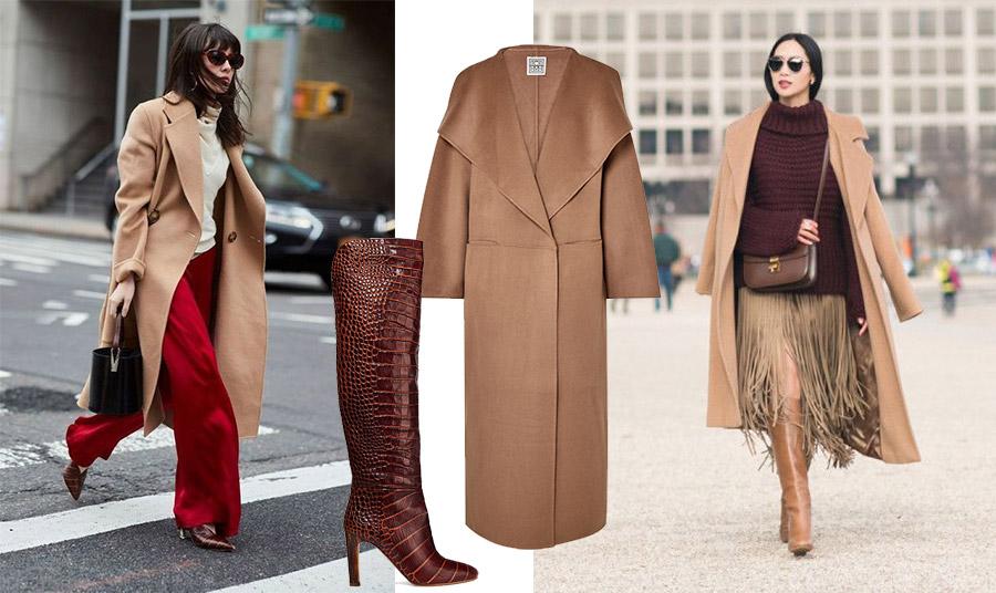 Το σκούρο κόκκινο και ακόμη περισσότερο το μπορντό κάνει καλή… παρέα με το καμηλό. Καμηλό παλτό, Toteme, κροκό μπορντό μπότες, Gabriella Hearst