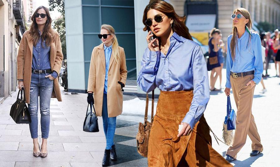 Ένα κλασικό γαλάζιο πουκάμισο αλλά κι ένα τζιν πουκάμισο συνδυάζεται με καμηλό παλτό, φούστα ή παντελόνι σπάζοντας τη σοβαροφάνεια