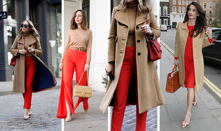 Καμηλό με κόκκινο: εγγύηση εντυπωσιακής και κομψής εμφάνισης. Συνδυάστε καμηλό μπλούζα ή πουλόβερ και παλτό με κόκκινο παντελόνι, φούστα ή φόρεμα