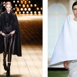 Σε γυαλιστερό μαύρο με δυναμική γραμμή, Saint Laurent // Κάπα με ιδιαίτερο κόψιμο, Givenchy Haute Couture