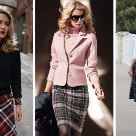 Καρό φούστες για το γραφείο και κάθε επαγγελματική υποχρέωση. Συνδυάστε την με ζιβάγκο, με λευκό πουκάμισο ή μπλούζα ή πάλι με τις ανάλογες αποχρώσεις για την μπλούζα και το σακάκι σας