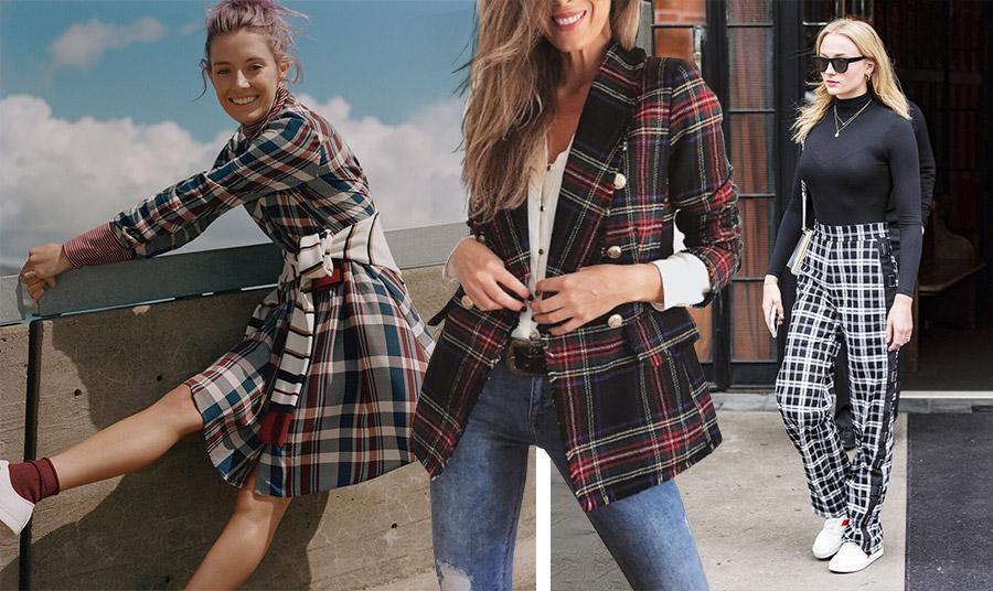 Casual στιλ με καρό: Φορέστε ένα καρό φόρεμα με sneakers και κοντά καλτσάκια για να θυμηθείτε τις μαθητικές σας ημέρες // Ένα καρό σακάκι πάνω από το τζιν σας // Καρό παντελόνι με αθλητικά και ζιβάγκο