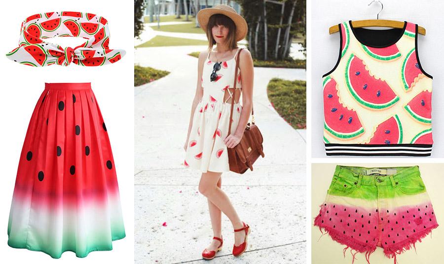 Μπαντάνα για τα μαλλιά και φούστα που θυμίζουν καρπούζι // Φορέστε ένα «καρπουζιένιο» φόρεμα με κόκκινες εσπαντίγιες και ένα ψάθινο καπέλο // Ποπ κοντό μπλουζάκι ή ένα σορτσάκι ( Levi's) στις αποχρώσεις του καρπουζιού;