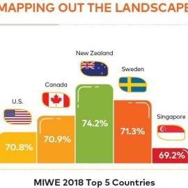 Η γυναίκεια επιχειρηματικότητα φαίνεται να ευδοκιμεί περισσότερο στις οικονομίες που έχουν ήδη σημειώσει ανάπτυξη, παρά στις αναπτυσσόμενες. Η Νέα Ζηλανδία κρατά τα σκήπτρα ακολουθούμενη από τη Σουηδία