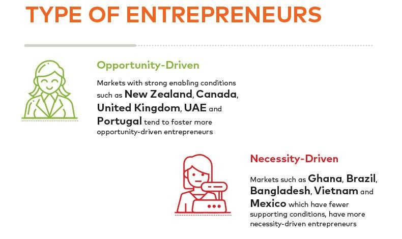 Σε αναπτυσσόμενες οικονομίες οι γυναίκες στρέφονται στη δημιουργία μιας επιχείρησης λόγω της ανάγκης για επιβίωση, όπως στην Γκάνα, τη Βραζιλία, το Μπαγκλαντές, το Βιετνάμ ή το Μεξικό