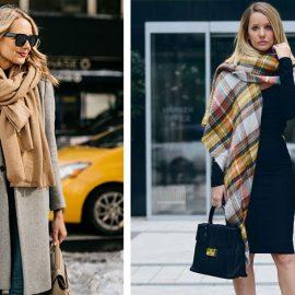 Τυλίξτε ένα μεγάλο κασκόλ γύρω από τον λαιμό με το παλτό σας // Περάστε ένα κασκόλ κουβέρτα σαν εσάρπα