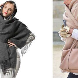 Ένα κασκόλ κουβέρτα μπορεί να τυλιχθεί γύρω από τον λαιμό καλύπτοντας και το κεφάλι // Πάνω από το πουλόβερ για να σας κρατά ζεστή