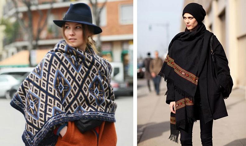 Το τετράγωνο σχήμα του κασκόλ κουβέρτα δίνει τη δυνατότητα να φορεθεί ως πόντσο // Ταιριάζει ωραία με ένα στενό παντελόνι και σκουφάκι