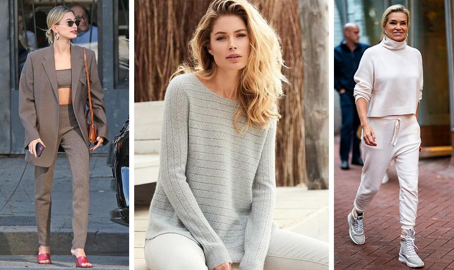 Η Ηailey Βaldwin με κασμιρένιο σετ // Η Dutzen Kroes σε χαλαρή διάθεση με το κασμιρένιο πουλόβερ της // Η Υolanda Ηandid με jogger cashmere set