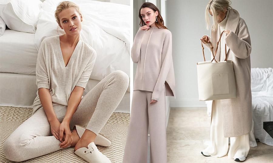 Οι αποχρώσεις του κρεμ και του λευκού κυριαρχούν στα κασμιρένια σετ της μόδας