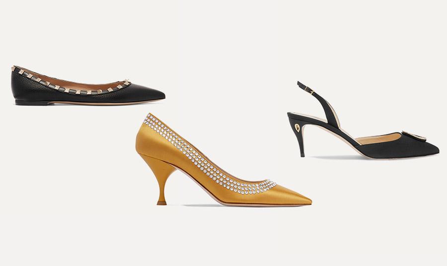 Για να δείχνουν πιο μακριές οι γάμπες σας αναζητήστε μυτερά παπούτσια είτε με τακούνια είτε φλατ, λεπτά τακούνια και slingback ή mules