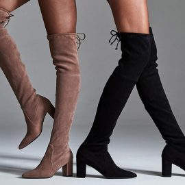 Οι φετινές μπότες που ανεβαίνουν πάνω από το γόνατο φιλοδοξούν να γίνουν η νέα αντιπροσωπευτική εικόνα του Stuart Weitzman και το νέο «σήμα κατατεθέν» της διάσημης μάρκας