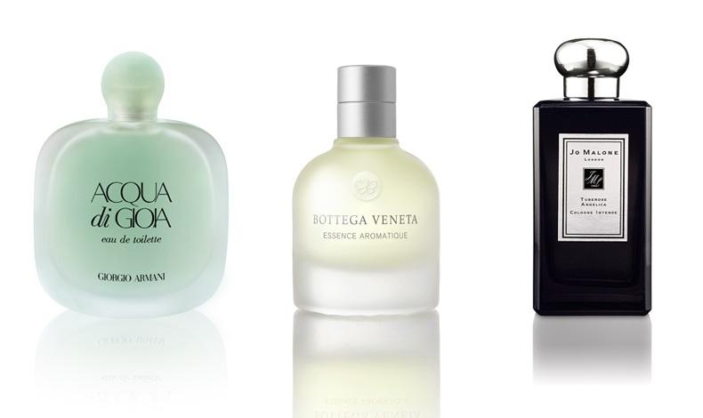 Acqua di Gioia Eau deToilette, Giorgio Armani // Essence Aromatique, Bottega Veneta // Tuberose Angelica, Cologne Intense, Jo Malone