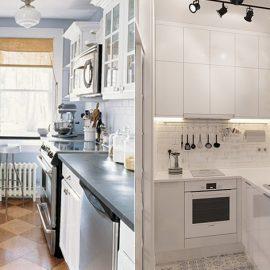 Το λευκό χρώμα, το χρώμα του πάγου, το κρεμ ή το ανοιχτό μπεζ κάνουν μία μικρή κουζίνα να δείχνει μεγαλύτερη
