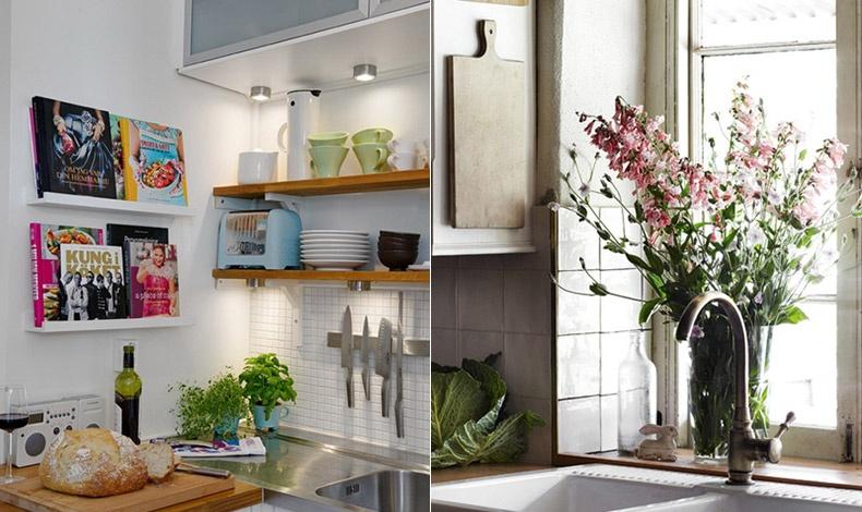 Τα λουλούδια ή τα γλαστράκια με αρωματικά βότανα, κάνουν έναν μικρό χώρο πιο χαρούμενο και ανάλαφρο