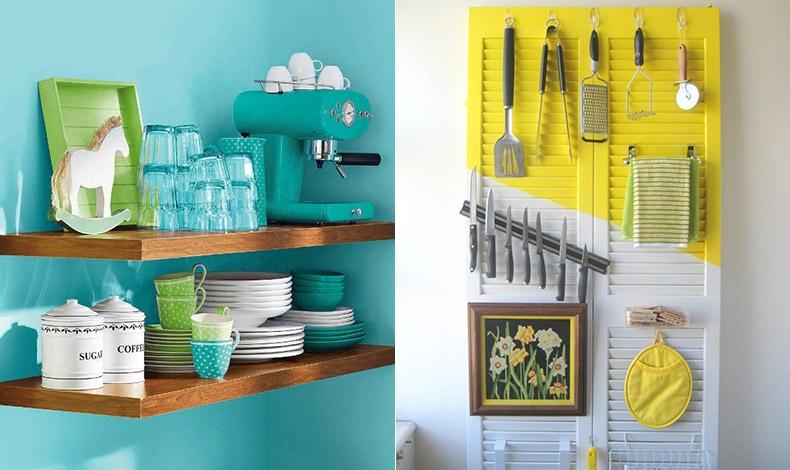 Ανάλογα και με τον χώρο σας, χρησιμοποιήστε ράφια για να τακτοποιήσετε τα χρηστικά αντικείμενα της κουζίνας // Μία ωραία ιδέα για να εξοικονομήσετε χώρο. Το κίτρινο είναι ένα χρώμα που ταιριάζει στους μικρούς χώρους