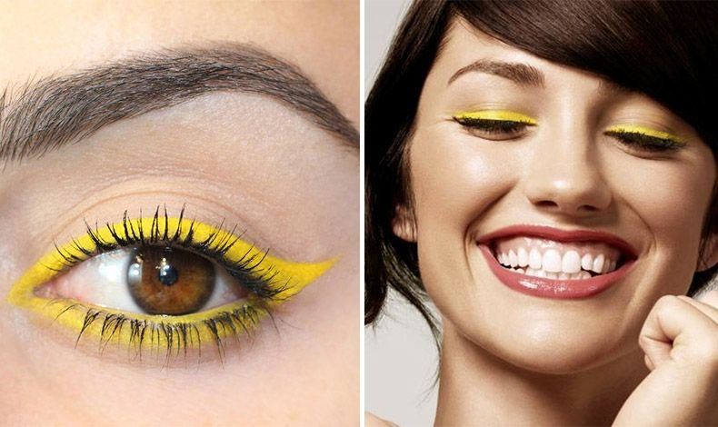 Σε έντονο κίτρινο για ένα cat-eye look και μαύρη μάσκαρα