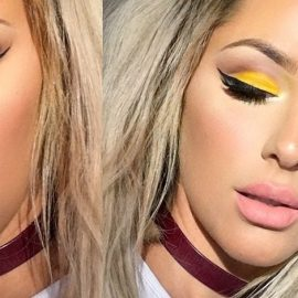 Εντυπωσιακό μακιγιάζ ματιών με κίτρινη σκιά, μαύρο μολύβι και μάσκαρα