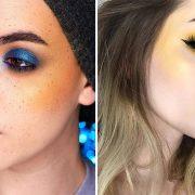 Συνδυάστε το κίτρινο ρουζ με έντονα γαλάζιες αποχρώσεις στα μάτια και ουδέτερα χείλη ή με κίτρινη σκιά και κόκκινα χείλη