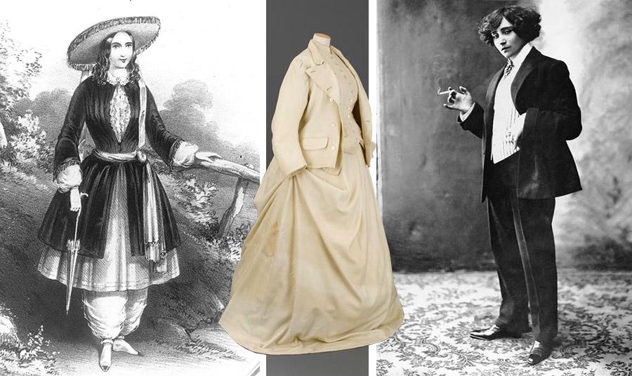 Η εμπνευσμένη από το κίνημα για τα Γυναικεία Δικαιώματα Αμέλια Ζενκς Μπλούμερ που επινοεί ένα ένδυμα ανάμεσα σε τουνίκ και παντελόνι // Τα πρώτα κοστούμια με φούστες του Henry Creed (εδώ του 1861) // Η τολμηρή συγγραφέας Γεωργία Σάνδη σκανδάλιζε τη Γαλλία κυκλοφορώντας με τα κοστούμια των εραστών της και – τι ντροπή- καπνίζοντας πούρο δημοσίως