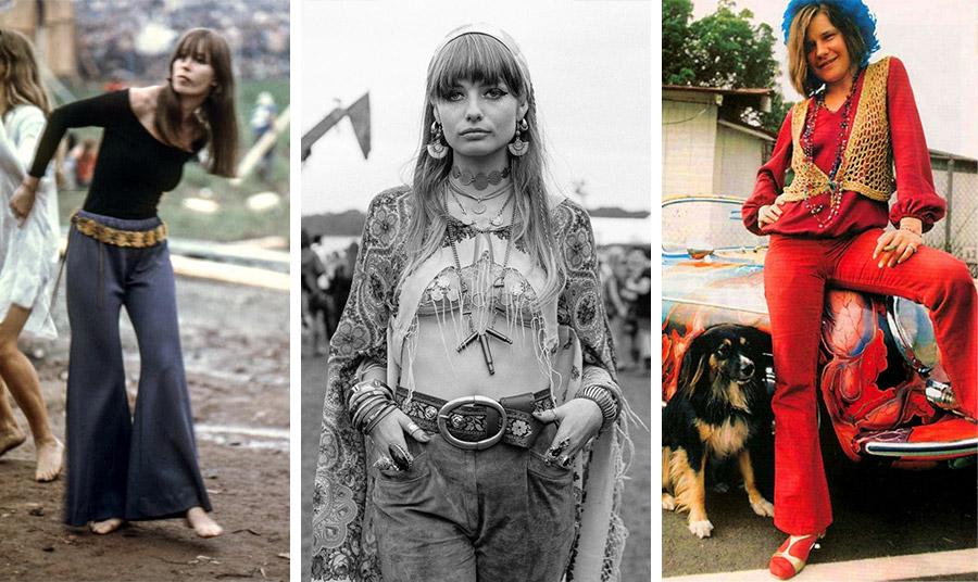Τα τζιν και τα παντελόνια καμπάνα γίνονται το σήμα κατατεθέν των χίπις και του Γούντστοκ το 1969, ενώ η Τζάνις Τσόπλιν φωτογραφίζεται με κόκκινο παντελόνι την ίδια περίοδο