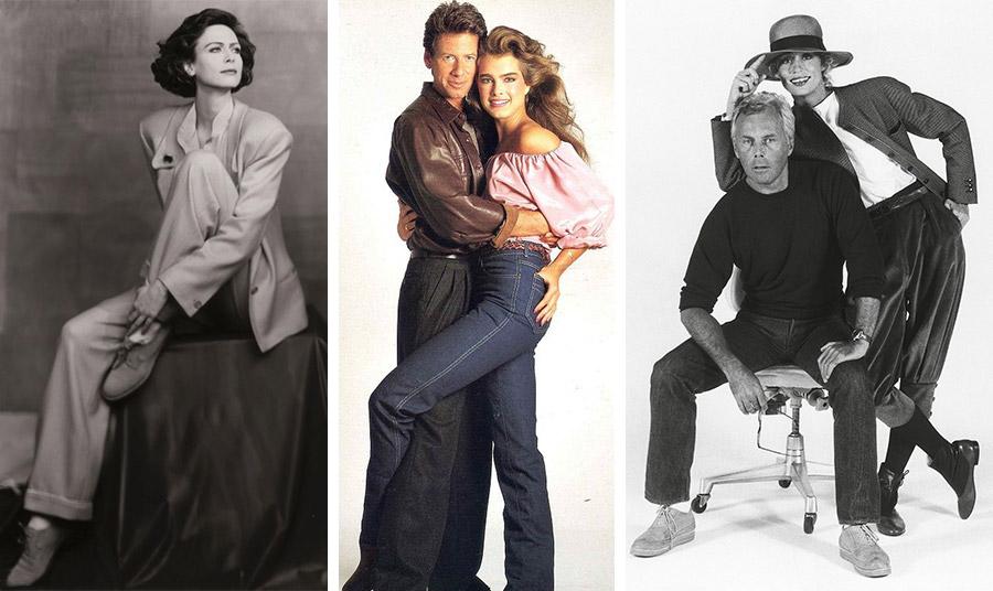 Ο Αrmani δημιουργεί «σχολή» με τα κοστούμια του για γυναίκες τη δεκαετία του ΄80 // Η Μπρουκ Σίλντς με το τζιν της αγκαλιά με τον Calvin Klein // Η Λωρήν Χάτον με τον Giorgio Armani