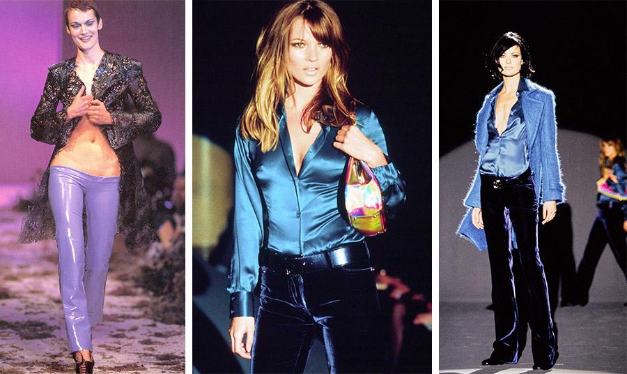 Ο Alexander McQueen θα παρουσιάσει τα πρώτα χαμηλοκάβαλα παντελόνια το 1995 // Την ίδια χρονιά ο Tom Ford παρουσιάζει τα χαμηλόμεσα βελούδινα παντελόνια για τον οίκο Gucci