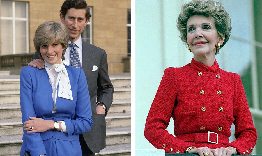 H Νταϊάννα με το γαλάζιο κοστούμι της κατά την ημέρα ανακοίνωσης των αρραβώνων με τον πρίγκιπα Κάρολο το 1981 // Η Νάνσι Ρήγκαν με το στενό κατακόκκινο σακάκι της κατά την τελετή ορκωμοσία του προέδρου Ρήγκαν το 1981