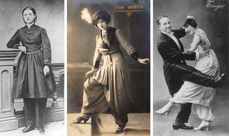 Η Μαίρη Έντουαρτς Γουόκερ, η πρώτη γυναίκα χειρουργός στον Αμερικανικό Στρατό κατά τη διάρκεια του Αμερικανικού Εμφυλίου, συνελήφθη γιατί φορούσε παντελόνι // Ο Paul Poiret το 1909 παρουσιάζει στο Παρίσι το πρώτο γυναικείο παντελόνι που με έμπνευση από τα χαρέμια // Οι ζυπ κυλότ του Paul Poiret που υιοθετούνται από την κοσμική κοινωνία του Παρισιού
