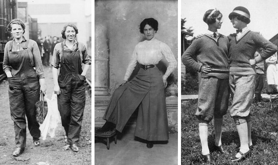Τα παντελόνια γίνονται το μόνο ενδεδειγμένο ένδυμα για τις εργάτριες στα εργοστάσια στον Α' Παγκόσμιο Πόλεμο, εδώ εργάτριες στις μεταφορές στις ΗΠΑ, 1914 // Οι παντελόνες ξεσήκωσαν θύελλα στις αρχές του αιώνα στην πουριτανική αμερικανική κοινωνία // Τα σπορ και η άθληση δίνουν ώθηση στη χρήση του παντελονιού (1920)