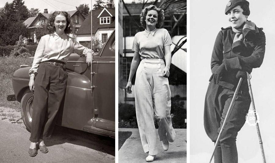 Το στιλ παντελονιού το 1930 // Η Τζιν Χάρλοου με παντελόνα το 1930 // Δείγμα της αθλητικής περιβολής για σκι από τα κοστούμια που σχεδίασε ο Jean Patou τη δεκαετία του '20