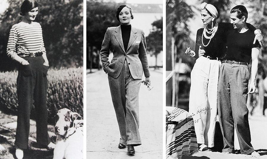 Η Coco Chanel με παντελόνι και μαρινιέρα στα τέλη της δεκαετίας του '20 // Η Μάρλεν Ντήτριχ με κοστούμι στους δρόμους του Χόλιγουντ τον Ιανουάριο του 1933 //  Η Chanel άλλαξε την ενδυματολογική συμπεριφορά της κοσμικής κοινωνίας για πάντα!