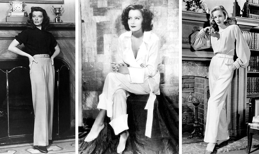 Η Κάθριν Χέπμπορν, η Γκρέτα Γκάρμπο και η Λωρήν Μπακόλ ποζάρουν με ανδρικό λουκ