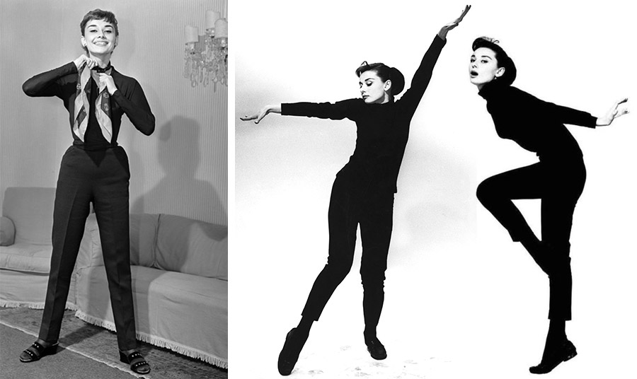 Η Όντρεϊ Χέπμπορν θα μείνει αξέχαστη να χορεύει σε ένα μπήτνικ κλάμπ του Παρισιού με ένα μαύρο παντελόνι του Givenchy στην ταινία «Ένα αστείο κορίτσι»