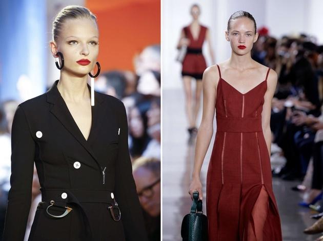Kόκκινο της φωτιάς στην πασαρέλα για την άνοιξη-καλοκαίρι 2016 Celine // Βελούδινο κόκκινο για την άνοιξη-καλοκαίρι 2016 Jason Wu