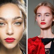 Διακριτικό μακιγιάζ στα μάτια και στο πρόσωπο και κόκκινο κραγιόν από τα backstage της φετινής άνοιξης, Dolce&Gabbana // Τα λαμπερά κόκκινα χείλη πρωταγωνίστησαν στην ανοιξιάτικη κολεξιόν Oscar de la Renta