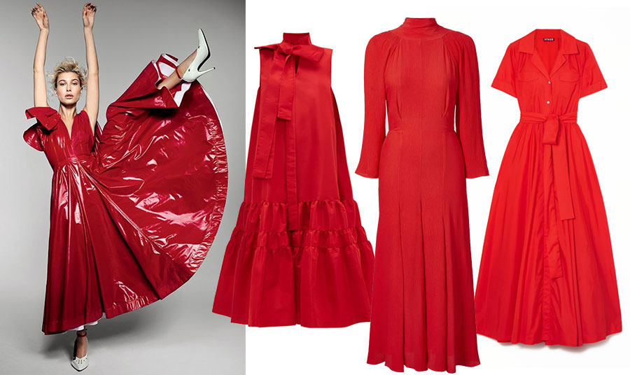 Υπέροχο φόρεμα από γυαλιστερό δέρμα με φιόγκο για την Hailey Baldwin στο Vogue που μοιάζει σαν… υβίσκος που χορεύει! // Φόρεμα με βολάν και φιόγκο στον λαιμό, Rochas (www.net-a-porter.com) // Κομψό μακρύ φόρεμα με πιέτες και τονισμένα μανίκια (που επίσης είναι μόδα φέτος), Gaia (www.tove-studio.com) // Σε λαμπερό κόκκινο, ένα φόρεμα με τονισμένη μέση και κολακευτική γραμμή, που φοριέται εύκολα, Staud (www.net-a-porter.com)