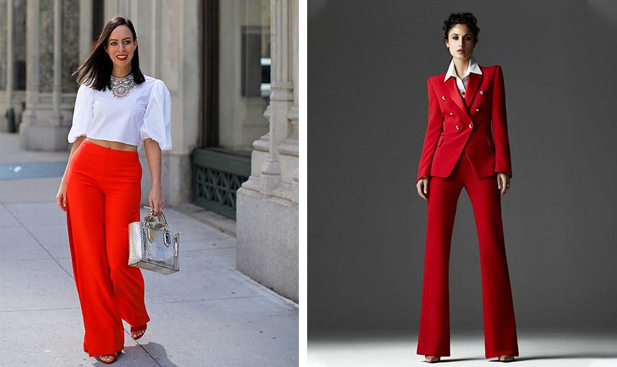 Ο πιο αριστοκρατικός συνδυασμός: κόκκινο με λευκό! 'Ένα ωραίο τοπ και μία φαρδιά κόκκινη παντελόνα με ασημένια κοσμήματα και αξεσουάρ δεν περνά απαρατήρητη // Το κοστούμι είναι πολύ της μόδας φέτος. Κόκκινο με ένα λευκό πουκάμισο και ψηλοτάκουνα παπούτσια θα σας πάει… παντού!