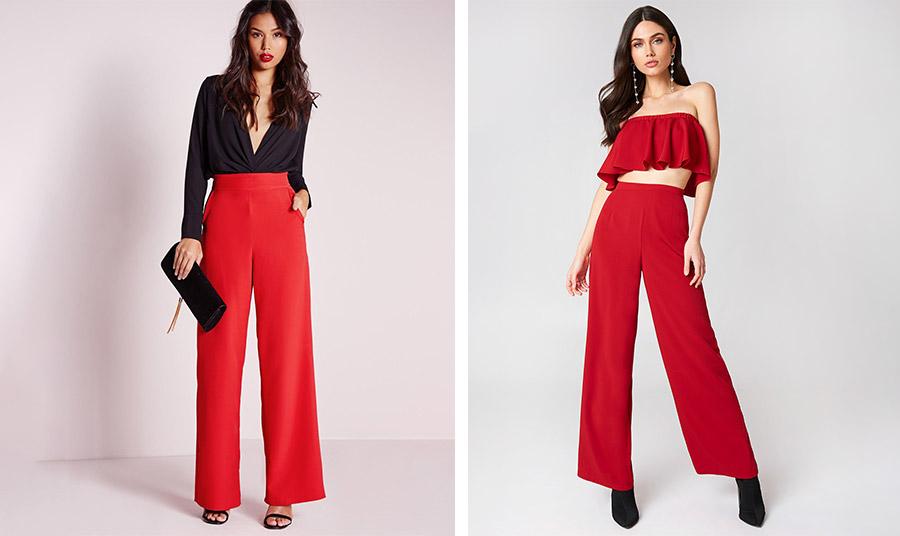 Φυσικά και για το βράδυ! Ένα κόκκινο παντελόνι σε φαρδιά γραμμή είτε με ένα μαύρο πουκάμισο και ψηλοτάκουνα πέδιλα είτε με ένα ασορτί τοπ, μακριά σκουλαρίκια και μαύρες μπότες είναι θέμα προσωπικού γούστου!